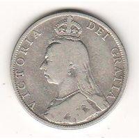 Великобритания флорин 1891 года. Серебро. Более редкий год. Нечастая!