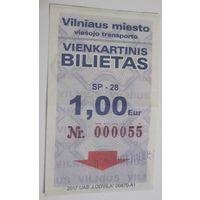Билет на наземный транспорт. Вильнюс. Электронный компостер.