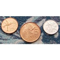 Тринидад и Тобаго 1 цент (2005 г.), 5 центов (2008 г.), 10 центов (2004 г.). Флора и фауна Карибского бассейна. Инвестируй в монеты планеты!