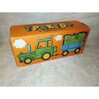 Коробка упаковка от трактора с прицепом СССР механической заводной игрушки Узловский завод АДС