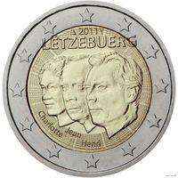 2 евро 2011 г. Люксембург 50 лет назначения Великого герцога Жана  UNC из ролла