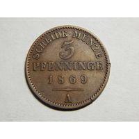 Пруссия 3 пфеннинга 1869г