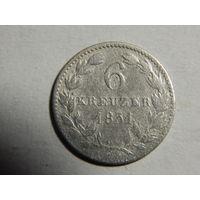 Нассау 6 крейцеров 1831г