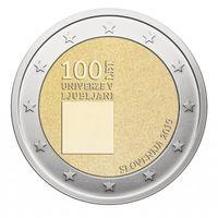 2 евро 2019 Словения 100-летие Люблянского университета UNC из ролла