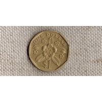 Сингапур 1 доллар 1990/флора(Uss)