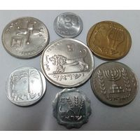 Израиль 1, 5, 10, 25 агор (агорот), 1/2, 1, 5 лир, набор из 7 монет 1976-1980