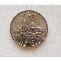 25 центов США 2000 г. штат Вирджиния P