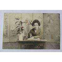 Открытка дореволюционная художественное фото женский портрет Япония