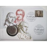 ФРГ.  5 марок 1982. 150 лет со дня смерти Иоганна Вольфганга фон Гёте. Конверт, марки  ПС-11