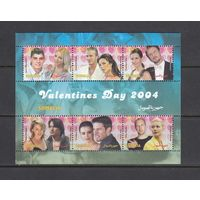 Артисты Актёры Актрисы Звёзды День Валентина 2004 Сомали Somalia MNH серия 6 м зуб лист лот РАСПРОДАЖА