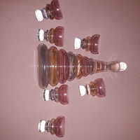 Винтаж   волнистое цветное- стекло графин-штоф с 6 рюмками