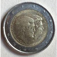 "Нидерланды, 2 евро 2014. Юбилейная ""Виллем-Александр и Беатрикс"""