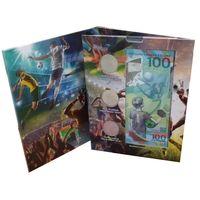 Набор из 3 монет и 1 банкноты посвященных Чемпионату мира по футболу в России 2018 г., в блистерном альбоме