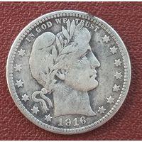 США 25 центов (1/4 доллара) 1916. Барбер. Последний год выпуска. Редкость
