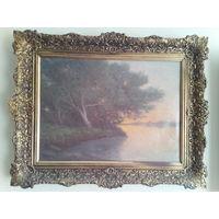 """Картина 19/20 век """"Раннее утро ,туман"""" Холст масло.ТЕХНИКА """"СФУМАТО"""" подписная."""