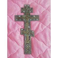 Крест распятие 3 эмали 19 век. Размер 27см 13.5см