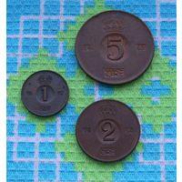 Набор монет Швеция 1, 2, 5 оре, АU. Корона. Густав VI Адольф.