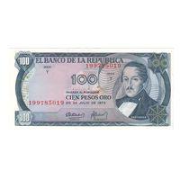 Колумбия 100 песо 1973 года. Состояние UNC!