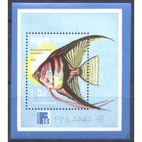 Кампучия 1988 Филвыст. Рыбы, блок