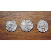 Три двойных динария 1566 , 1567, 1570 г.