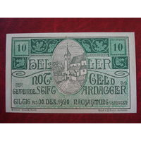 10 геллеров 1920 год Австрия Штифт Ардаггер
