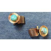 Серебристые мужские ретро запонки 70-80 гг. с камнем под бирюзу
