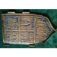 Икона створка от складня до 1917, старая, бронза, латунь, эмаль 15 * 9 см