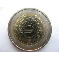 Португалия 2 евро 2012 г. 10 лет евро наличными. (юбилейная) UNC!