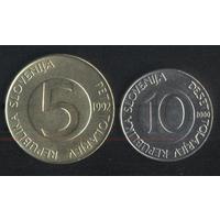Словения 5,10 толларов 1992,2000 г. (к-т). Сохран!!!