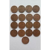 Георг Шестой. 1937 - 1952 гг. Канада. 1937 - 1952. Канада. Комплект одноцентовых монет эпохи правления.