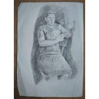 Крохалев Петр. Женщина на стуле. 21х28 см. Рисунок. Бумага. карандаш.