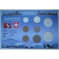 Швейцария 1 франк, 1/2 франка, 20, 10, 5 раппенов 1969-2001 гг.