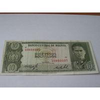 Боливия 10 песо 1962 год
