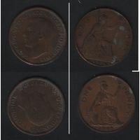 Великобритания 1 пенни 1921 и 1948 года спайка диамерт 30мм вес 11,90гр  F nn010 (бонусом с оборотом)