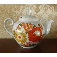 """Чайник 3,3 л """"Цветы"""" 23 см позолота Барановка"""