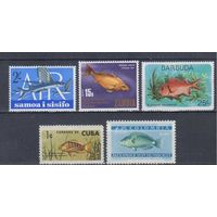 Фауна.Рыбы. 5 чистых марок.