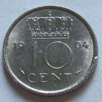 Нидерланды, 10 центов 1964 г