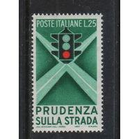 Италия Респ 1957 Безопасность на дорогах Светофор Ошибка в цветах светофора #991**