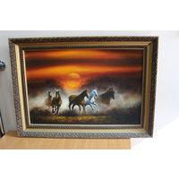 """Картина """"Бегущие лошади в тумане"""". 1997 год. С РУБЛЯ! АУКЦИОН!!!"""
