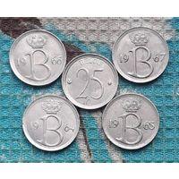 Бельгия 25 центов 60-е, АU. Корона.