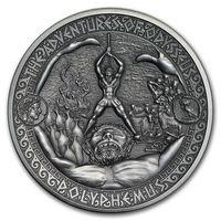 """Соломоновы острова 5 долларов 2018г. """"Путешествия Одиссея: Полифем"""". Монета в капсуле; подарочном футляре; сертификат; коробка. СЕРЕБРО 62,27гр.(2 oz)."""