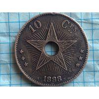 Бельгийское Конго 10 центов 1888г