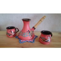 Набор: турка и 2 чашки керамика