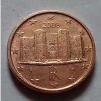 1 евроцент, Италия 2008 г., AU