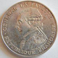 21. Франция 100 франков 1987 год Лафайед, серебро