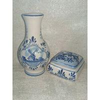 Миниатюрная пара - вазочка и шкатулка Голландия Delft