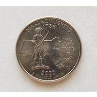 25 центов США 2000 г. штат Массачусетс P