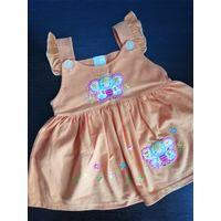 Платье оранжевое с бабочкой на 6-9мес