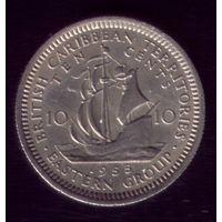 10 центов 1955 год Британские Карибы