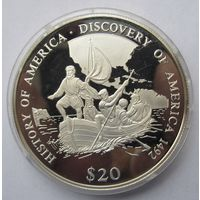 Либерия 20 долларов 2000 Открытие Америки 1492 - серебро 20 гр. 0,999 - нечастая!